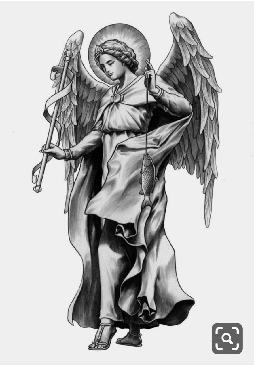 St Raphael Tattoo : raphael, tattoo, Vinicius, Gonzales, Procreate, Archangel, Tattoo,, Angel, Tattoo, Drawings,, Designs