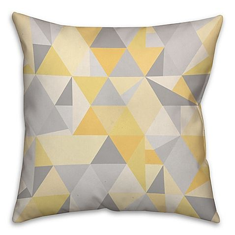 Triangles Pattern Square Throw Pillow In Yellow Grey Yellow