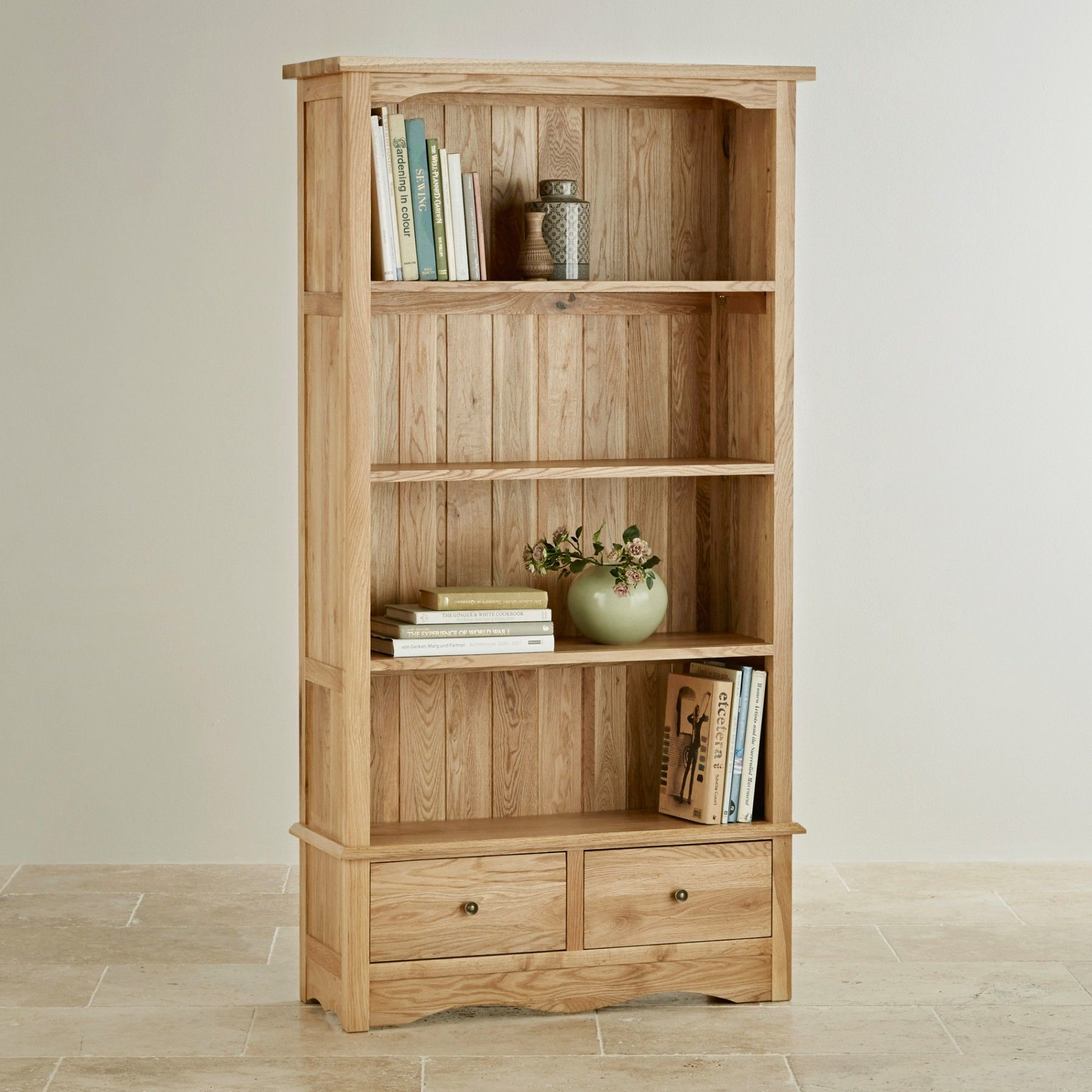 The Cairo Natural Solid Oak Tall Bookcase Features The Understated