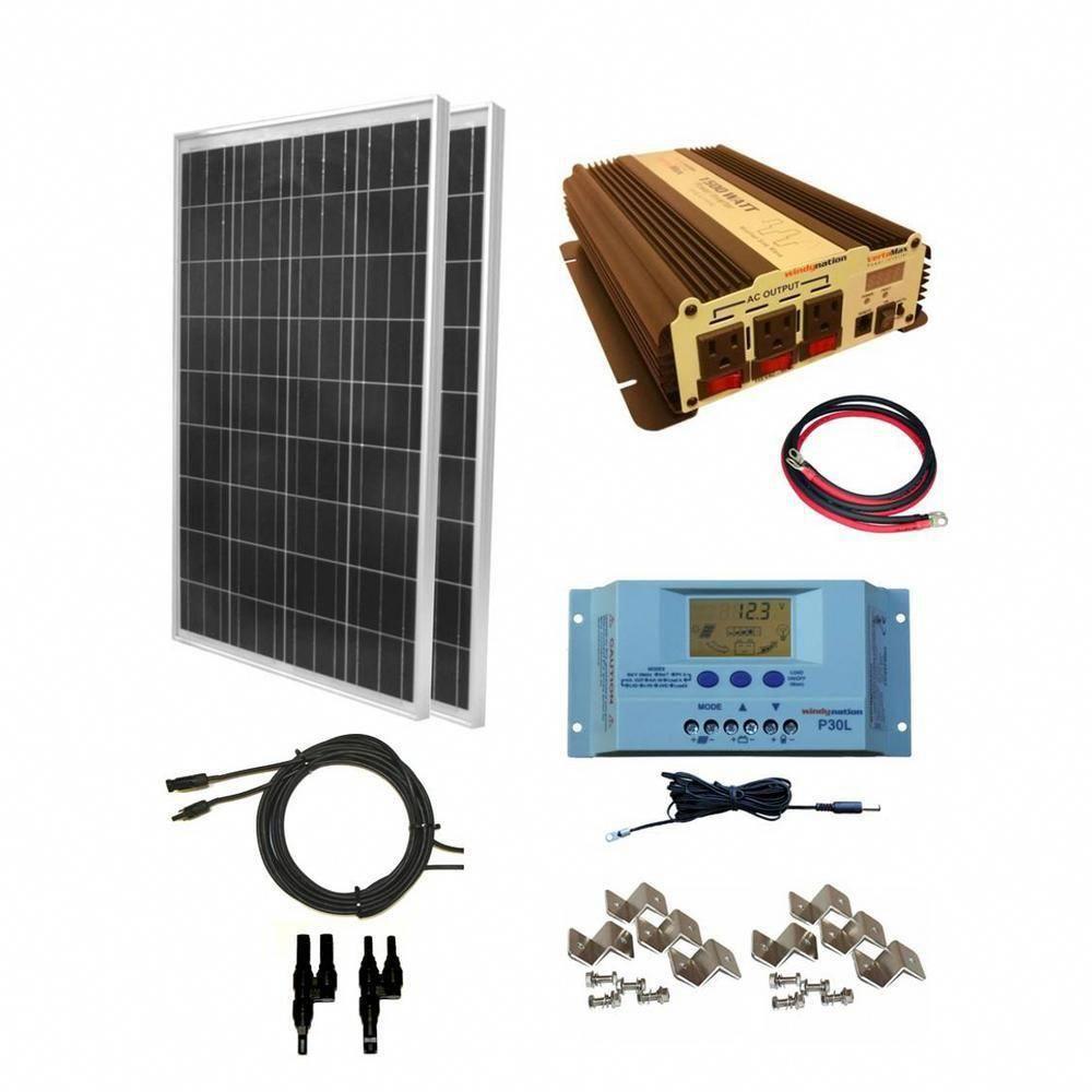 Windynation 200 Watt Off Grid Polycrystalline Solar Panel Kit With 1500 Watt Vertamax Power Inverter Sok 200wpi 15 The Home Depot Solar Panel Kits Best Solar Panels Solar Energy Panels