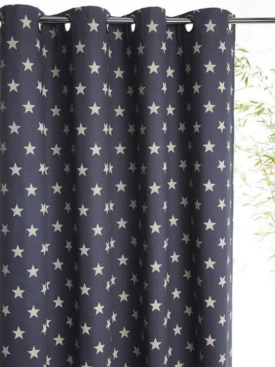 Rideau Imprime En Coton Avec Oeillets Bleu Grise Etoiles Grege Etoiles Marine Etoiles Rose Pois Rideaux Imprimes Rideaux Rideau Chambre Enfant