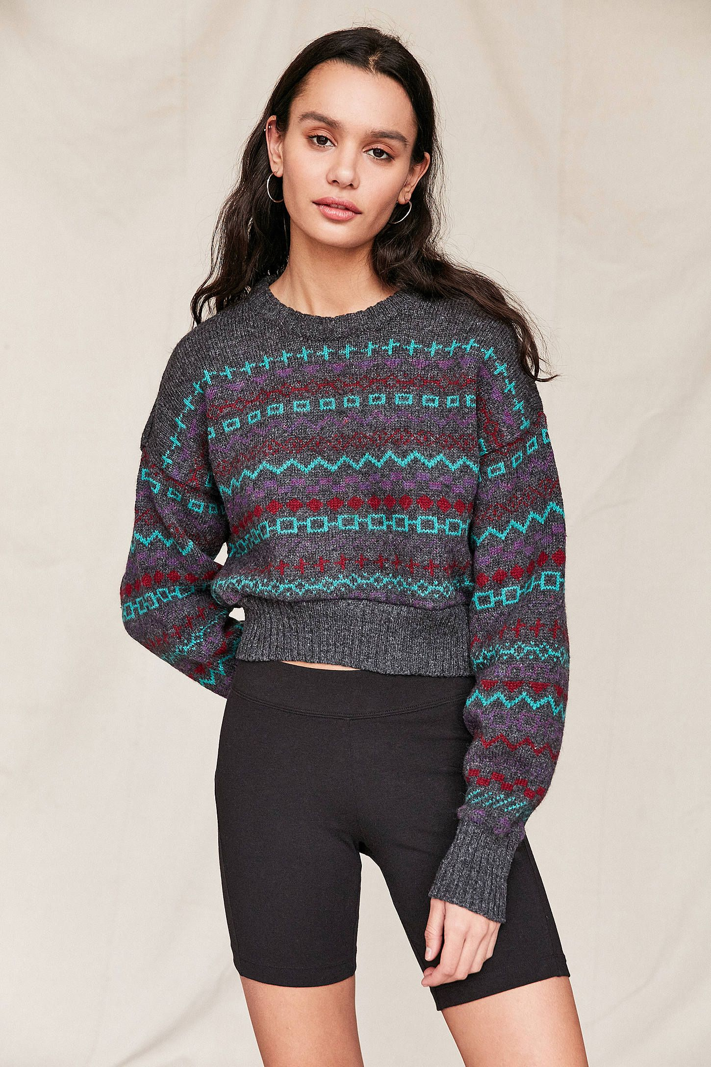 Urban Renewal Remade Cropped Fair Isle Sweater | Urban renewal ...