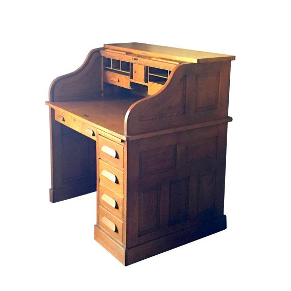 Small Roll Top Desk Antique Solid Wood Ladies Office by Nachokitty