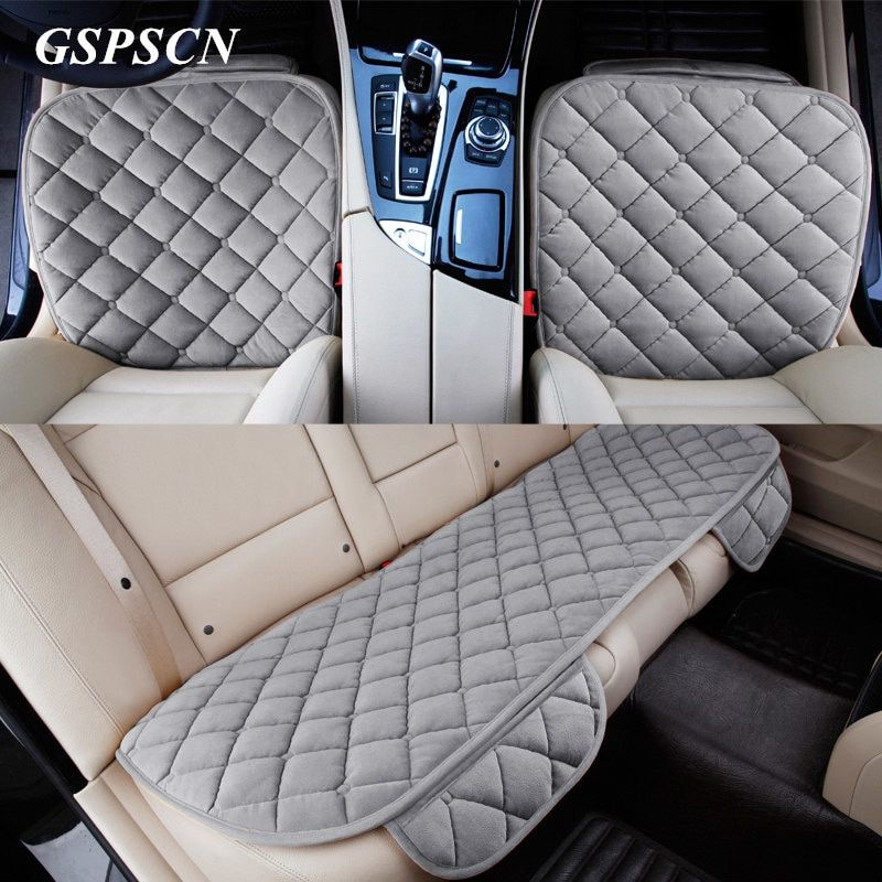 1247e381f 3Pcs Set Car Supplies Square Style Luxurious Warm Car Seat Cover ...