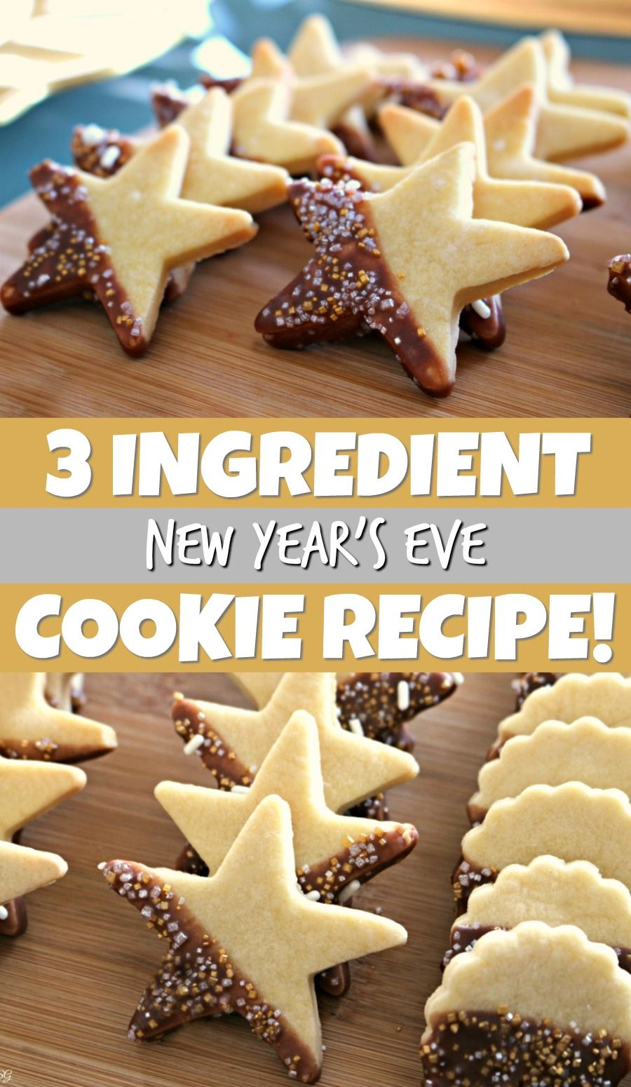 New Year's Eve Cookies! Easy 3 ingredient New Year butter