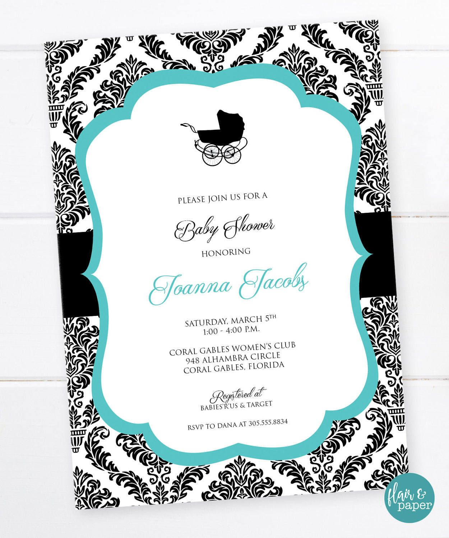 Breakfast at Tiffany\'s Baby Shower Invitation, Pram, Baby Carriage ...