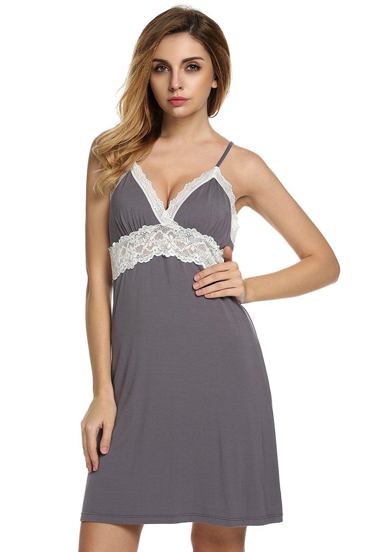 e1efa0ea02 Women's Clothing, Lingerie, Sleep & Lounge, Sleep & Lounge, Nightgowns &  Sleepshirts, Women's Sexy Lingerie Deep V Mini Full Slips Lace Sleepwear  Nightwear ...