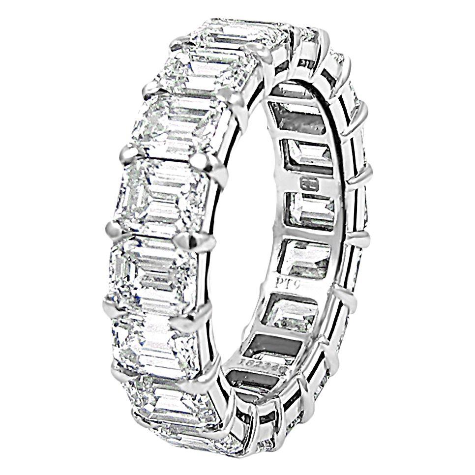 harry winston wedding rings Harry Winston Emerald Cut Diamond Platinum Eternity Band Ring