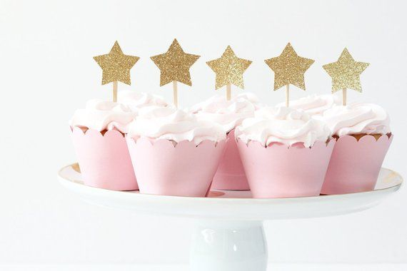 Gold Glitter Star Cupcake Toppers Girls First Birthday Party Twinkle Little Pink