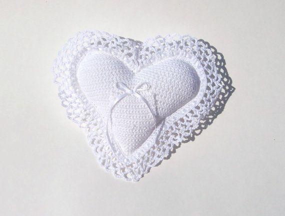 Ring Bearer Pillow White Heart Shaped Crocheted,TheCrochetLady | The ...