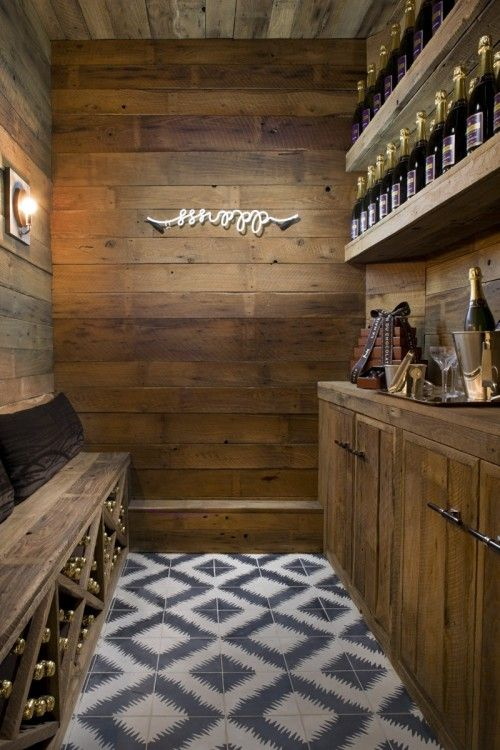Champagne cellar in  Mill Valley (California) home with tiled floor and natural wood walls.
