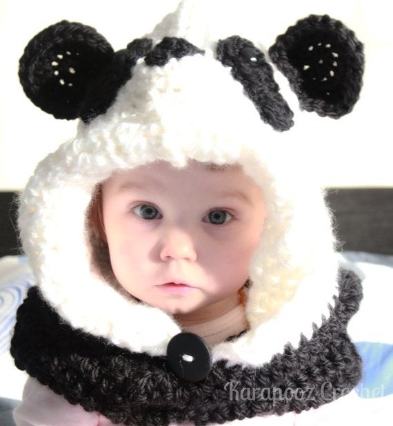 Made to order Crochet hooded cowl PANDA by KarapoozCrochet on Etsy
