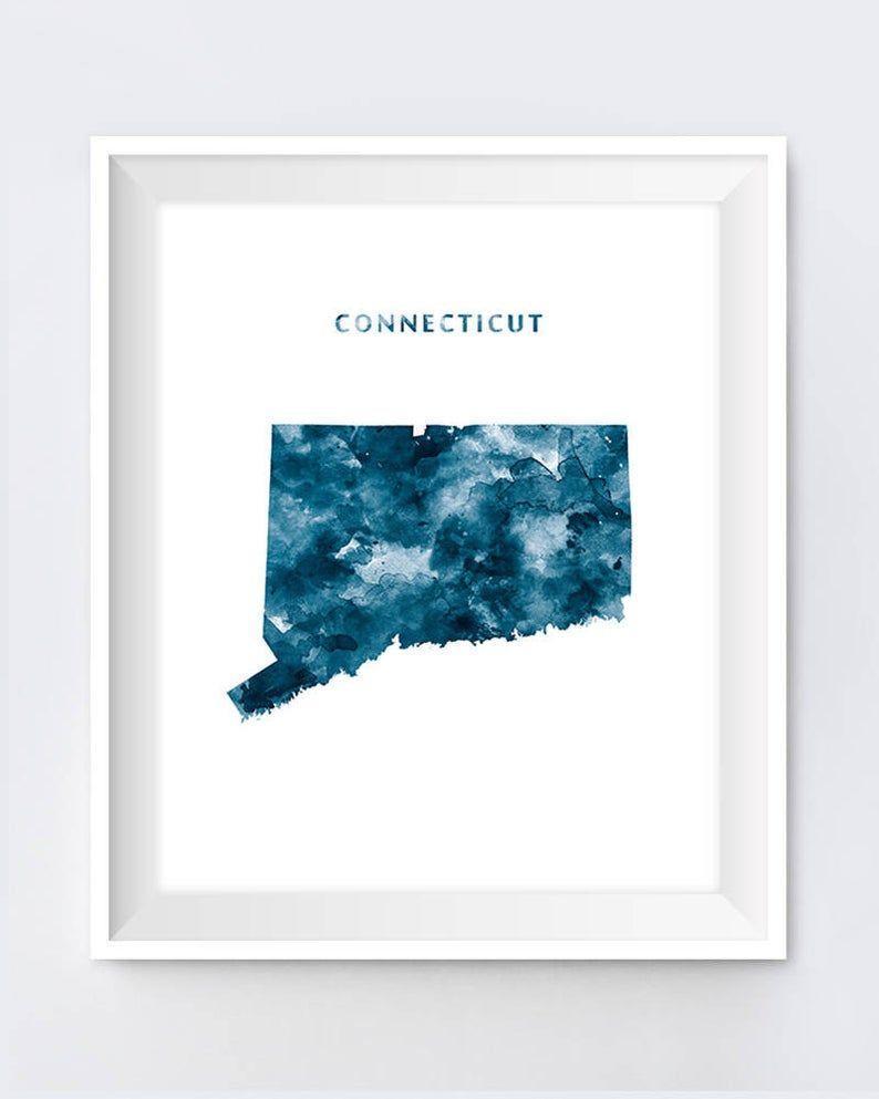 Connecticut Map Art Print Watercolor Hartford Print Wall Etsy Map Art Print Art Prints Map Art