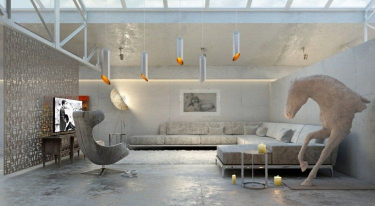 Idée peinture salon –couleurs neutres dans les intérieurs ...