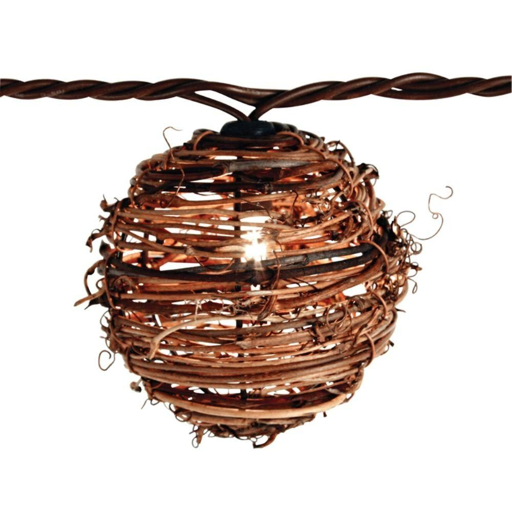 Patio String Lights Home Depot: 10-Light Clear Natural Rattan Ball String