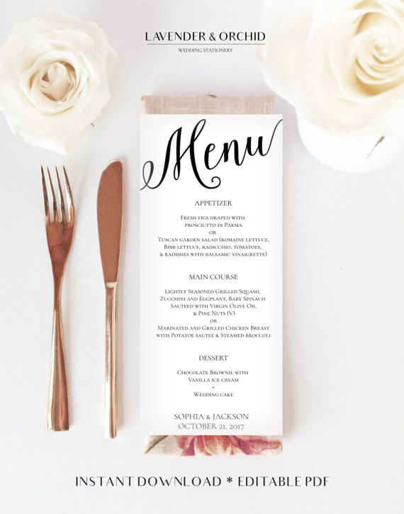 Wedding menu printable template Menu template by LavenderAndOrchid - menu printable template