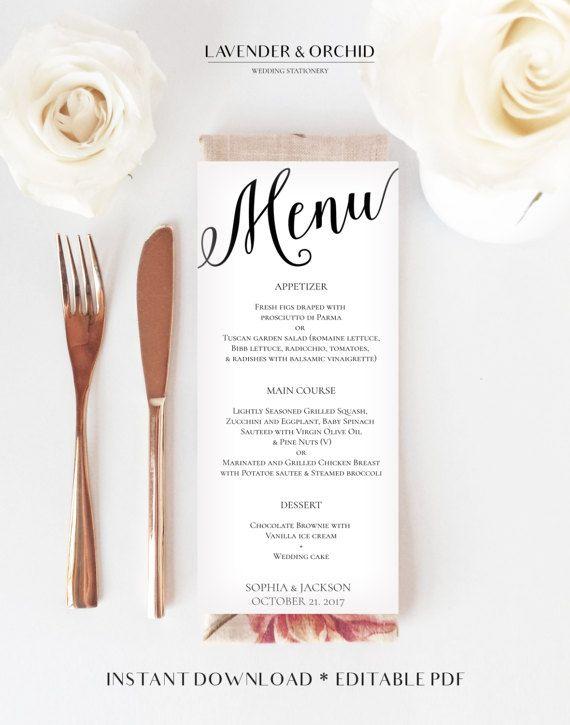 Wedding menu printable template Menu template by LavenderAndOrchid - dessert menu template