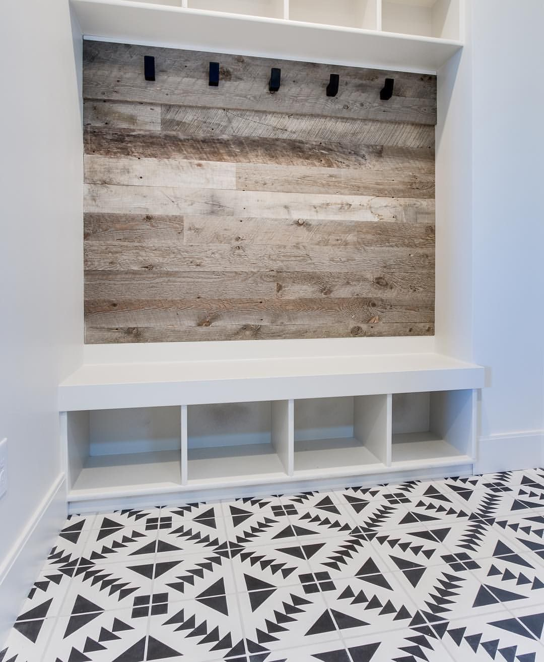 Modern Foyer Tile : Mudroom wood plank wall cubbies coat hooks white and
