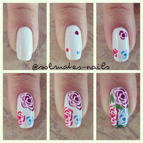 The Description Says It S Easy But I Know Just By Looking At It That I Personally Would Fail Completely Rose Nail Art Rose Nails Rose Nail Design