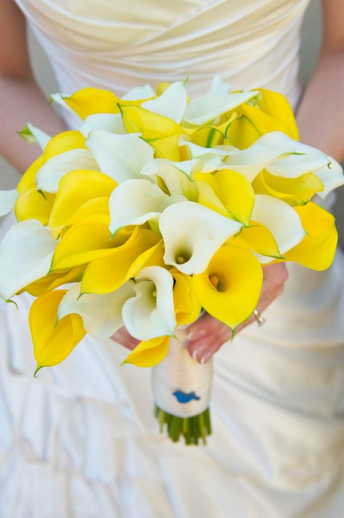 White And Yellow Calla Lilly Bride Bouquet With Real Or Silver