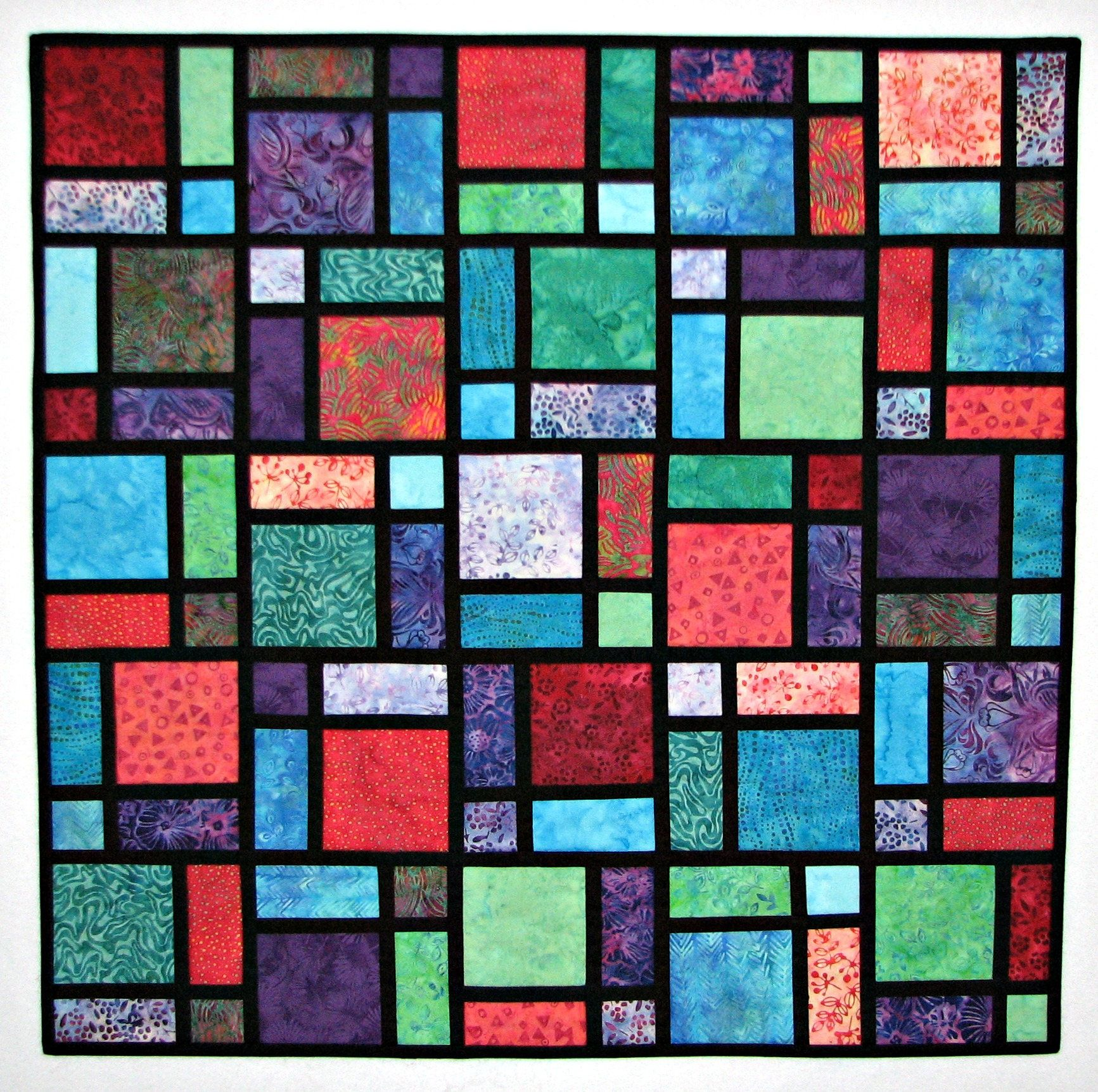 Modern Quilted Wall Hanging, Fabric Stained Glass Art Quilt, Batik