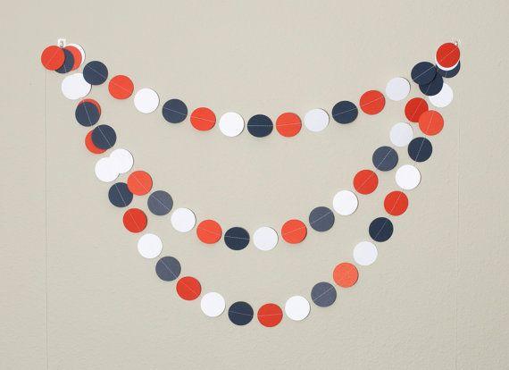 Red Navy Anchor Circle Paper Garland 12ft by PassTheScissorsShop