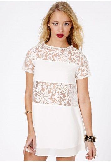Halina Lace Contrast Trapeze Dress In Cream £34.99