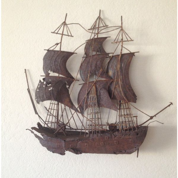 Ship Sculpture Metal Pirate Ship Sail Boat Vintage Ship Vintage Metal 23 Liked On Polyvore Featuring Metal Wall Hangings Metal Art Nautical Wall Decor