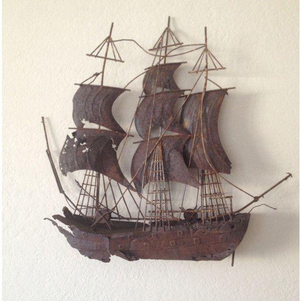 Ship Sculpture Metal Pirate Ship Sail Boat Vintage Ship Vintage