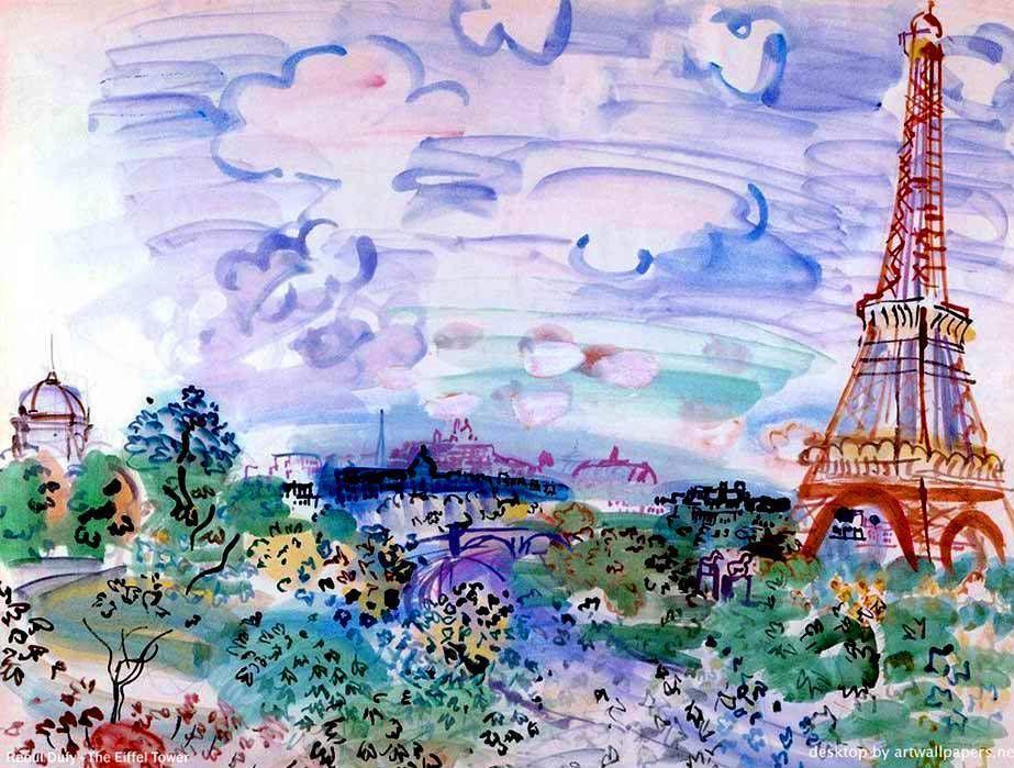 La Tour Eiffel Peinture De L Artiste Francais Raoul Dufy 1877