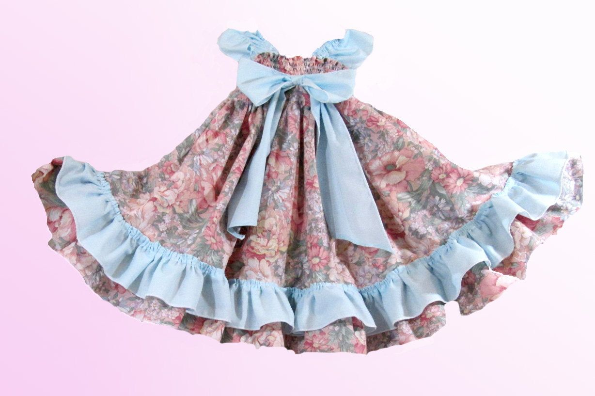 Baby Girl Easter Dress 6 9 Months Old Pink Roses And Baby Blue
