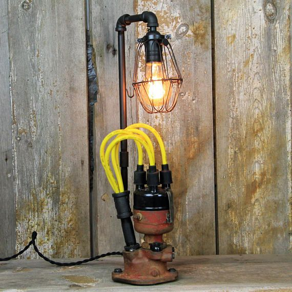Edison Lamp Rustic Decor Unique Table Lamp Industrial: Farm Tractor Steampunk Table Lamp Industrial Lamp With