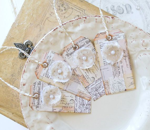 Flower Tags Gift Tags Hang Tags Escort TagsVintage by TanaBarisoff