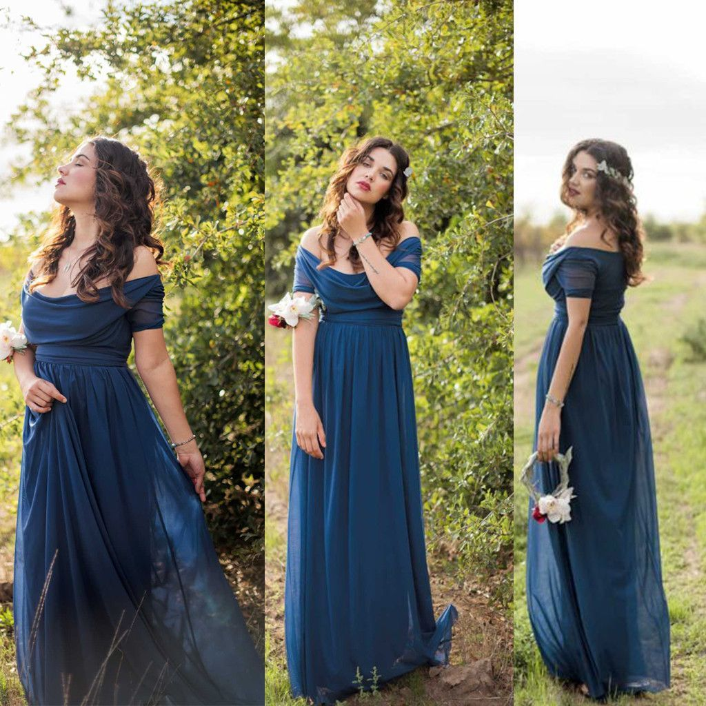 Short sleeve off shoulder long charming wedding bridesmaid dresses