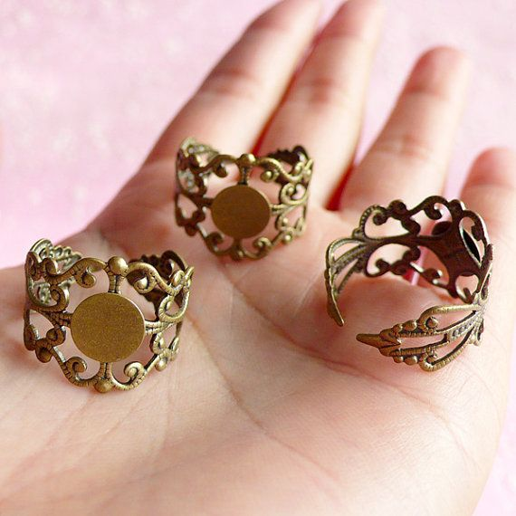 Filigree+Ring+Blank+Findings+with+8mm+Pad+5+pcs+by+MiniatureSweet