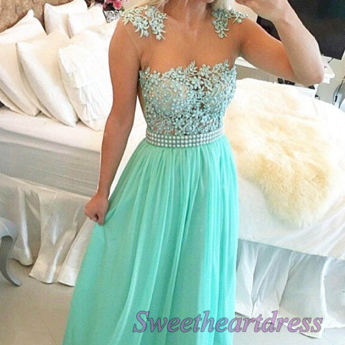 Mint prom dresses long, unique chiffon ball gown 2016, round neck ...