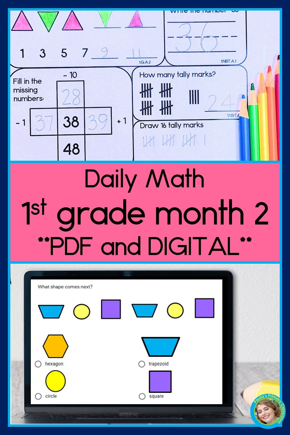 Daily Math For First Grade Month 2 Printable And Google Slides Versions Spiraling Curriculum Daily Math Daily Math Activities Math [ 1440 x 960 Pixel ]