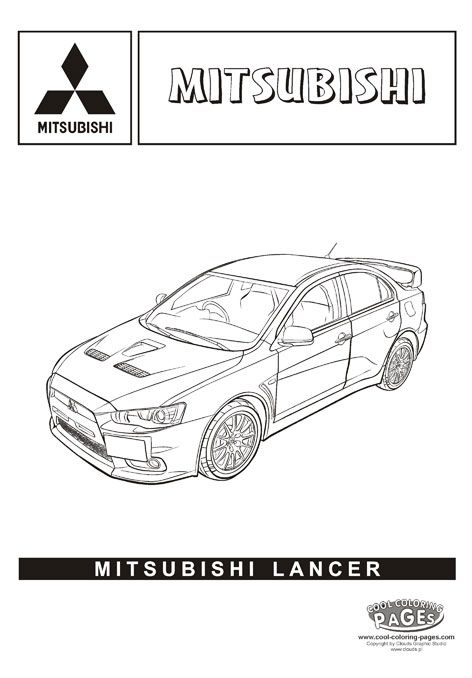 Mitsubishi lancer cars coloring pages