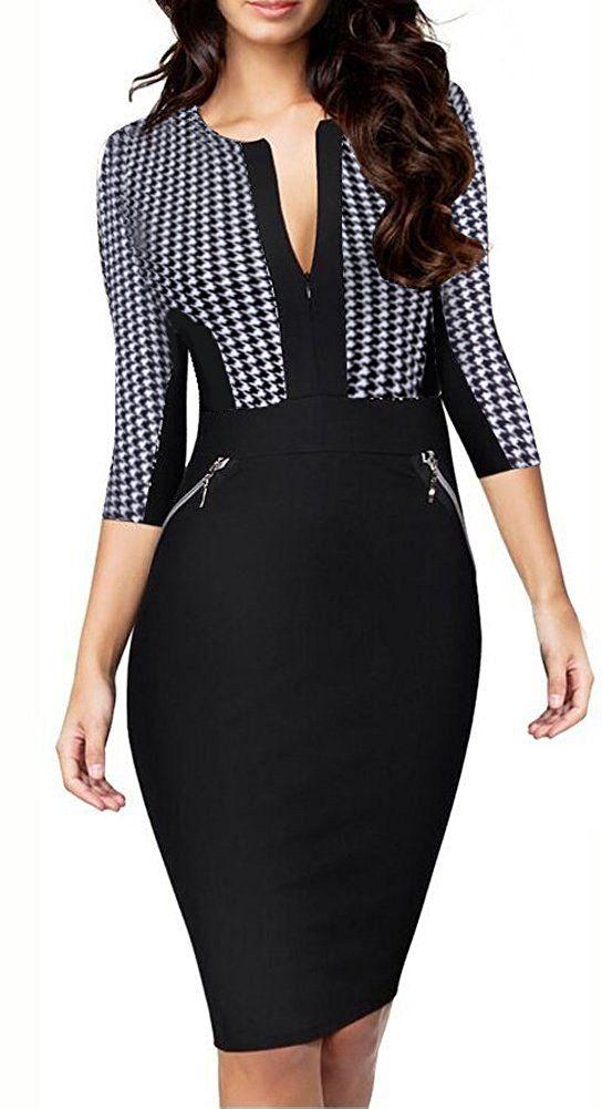 c026b2a7 HOMEYEE Women's Stretch Tunic Pencil Sheath Dress U837 at Amazon Women's  Clothing store: