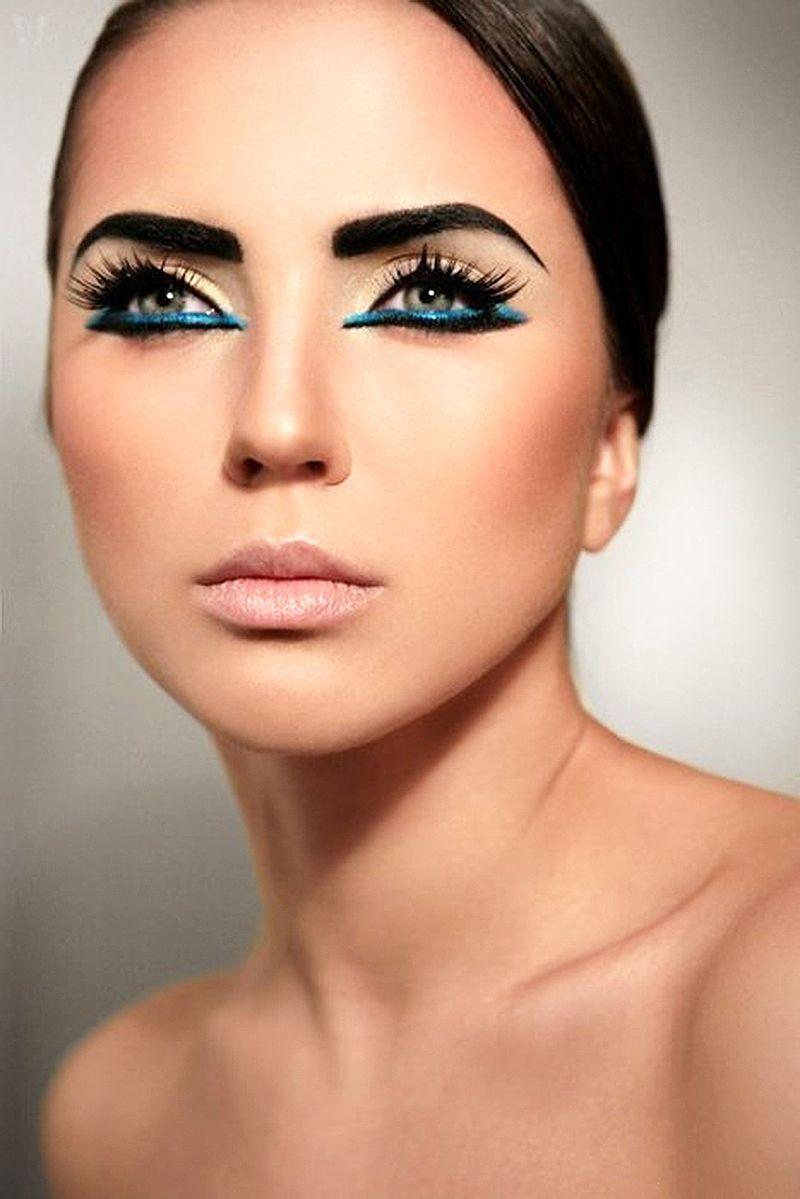 Dramatic Blue Black Under Eye Liner Makeup Egyptian Makeup