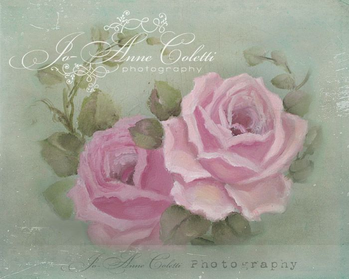 Summer roses canvas print vintage rose paintings joanne coletti shabby chic antique
