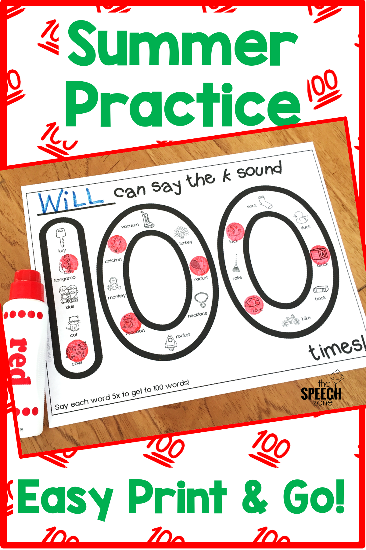 100 Trials Articulation Worksheets