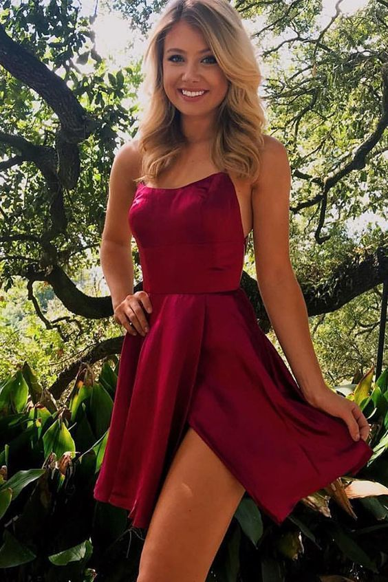 Burgundy Homecoming Dresses, Short Dress for Homecoming   ML2814 -   15 dress Cortos azul ideas