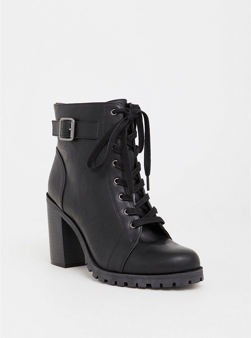 Black faux leather combat boot wide width combat boots