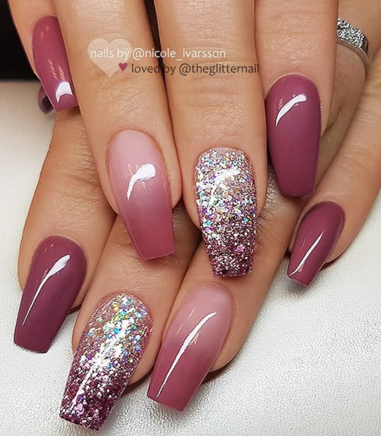 50 Pretty French Pink Ombre And Glitter On Long Acrylic Coffin Nails Design Page 2 Of 53 Latest Fashion Trends For Woman Simple Fall Nails Fall Nail Art Designs Coffin Nails Designs
