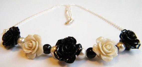 Rose necklace by StarryJewellsUKDonna on Etsy