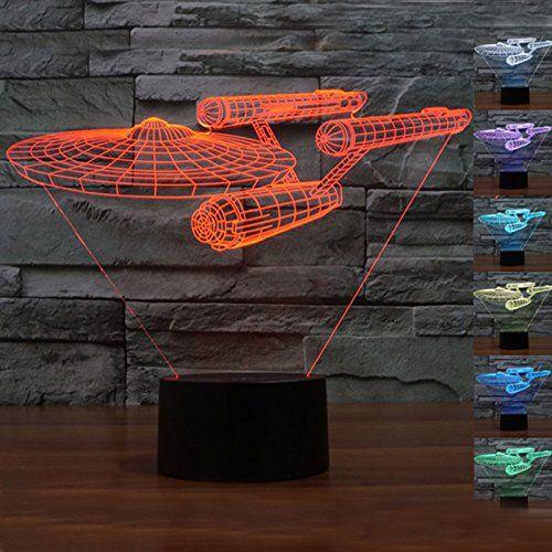 3D Tischleuchte Tischlampe Nachttischlampe Nachtlicht LED Star Trek Form