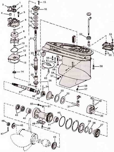 Evinrude johnson outboard parts v4 480 642 for Force outboard motor parts diagram