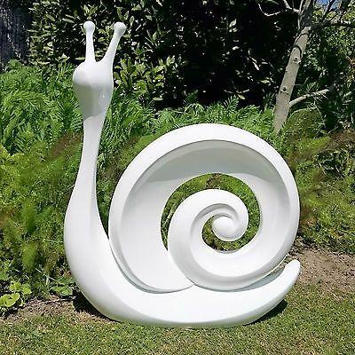White Snail Garden Ornaments Contemporary Garden Art 2 Sizes Statues Lawn Ornaments Garden Ornaments Garden Art Sculptures Garden Art Garden Ornaments