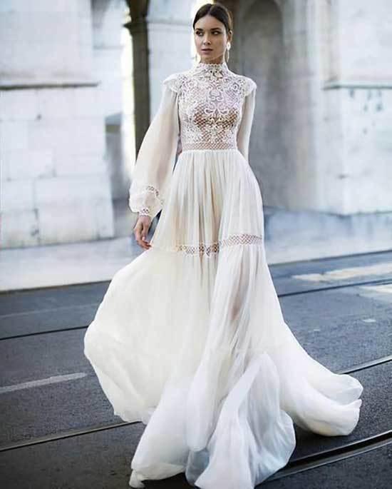 Tullu Nikah Elbisesi Vintage Gelinlikler Elbise Dugun Gelin Elbisesi